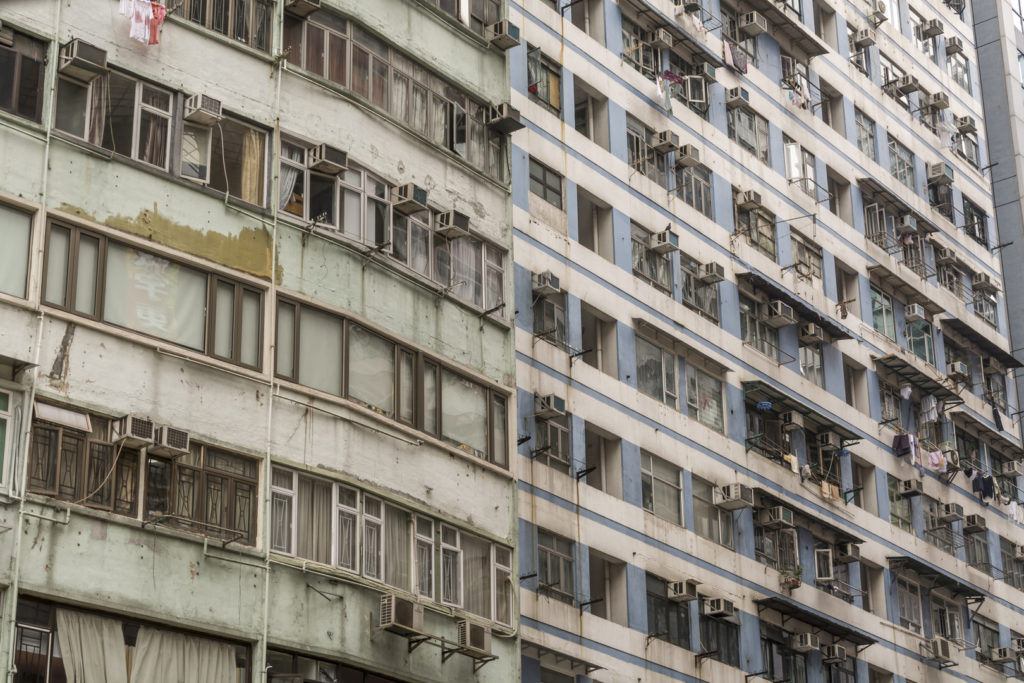 Detail of old, run down apartment block in Hong Kong