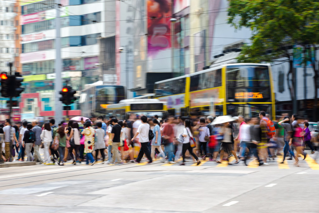 Pedestrians in Business District of Hong Kong